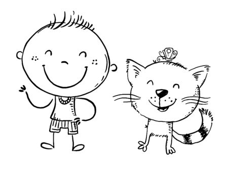 Happy child with his cat spending time outdoors, outline vector cartoon 向量圖像