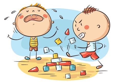 Kids behavior, conflict, one child being naughty and aggressive and another crying, colorful cartoon illustration