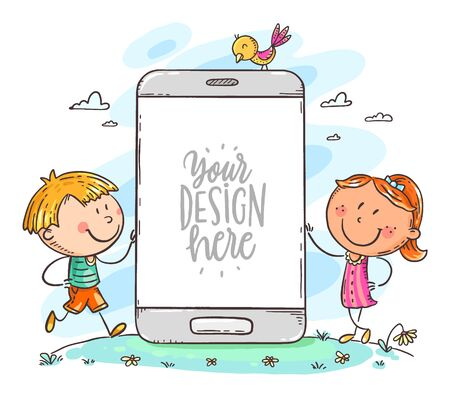 Kids with mobile phone with a blank space for your text or image, colorful vector illustration