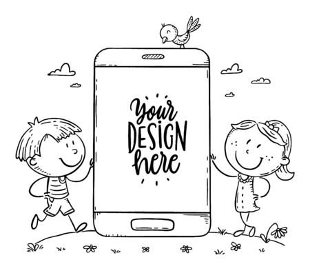 Kids with mobile phone with a blank space for your text or image, outline vector illustration 向量圖像