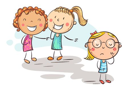 Children laughing and pointing at the shy girl in glasses, school bullying, doodle drawing Vektorgrafik