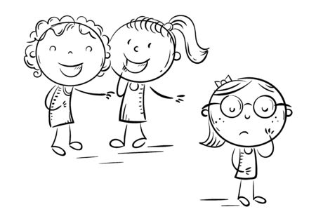 Children laughing and pointing at the shy girl in glasses, school bullying, outline doodle drawing