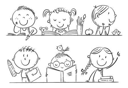 Cartoon kids in the classroom at school sitting at their desks, outline cartoon illustration