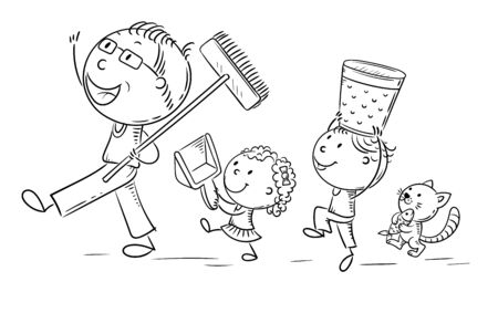 Happy father and kids doing housework, children helping parents