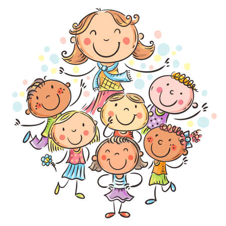Happy schoolkids with their teacher, school or kindergarten illustration