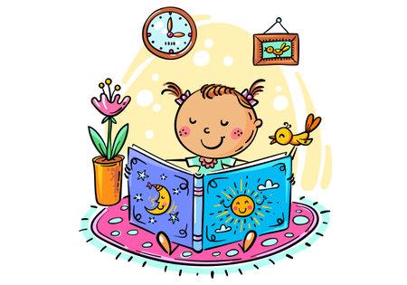 Little girl is reading a book, cartoon illustration