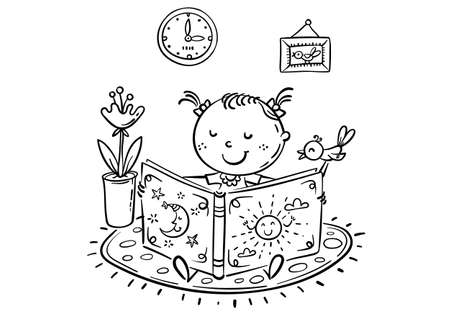 Little girl is reading a book, cartoon outline illustration
