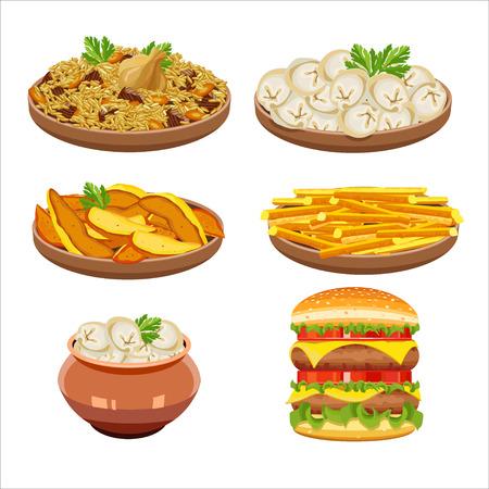 russian cuisine: Set of isolated illustration, food. Rice, dumplings, French fries, hamburger. Illustration