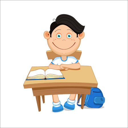 sits: Schoolboy sits at a table, illustration.