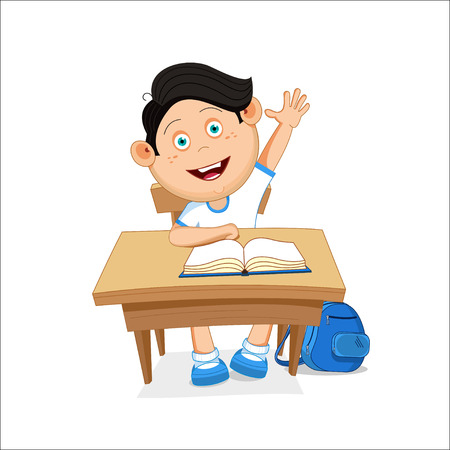 first grade: illustration, school boy sitting on table, hand picked.