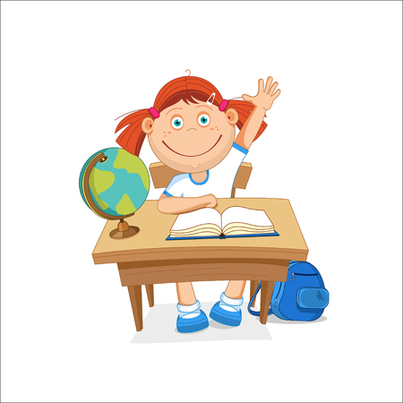 illustration, school girl sitting on table, hand picked.