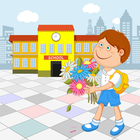 first grade: Boy schoolboy with a bouquet in hand walking to school. illustration. Illustration