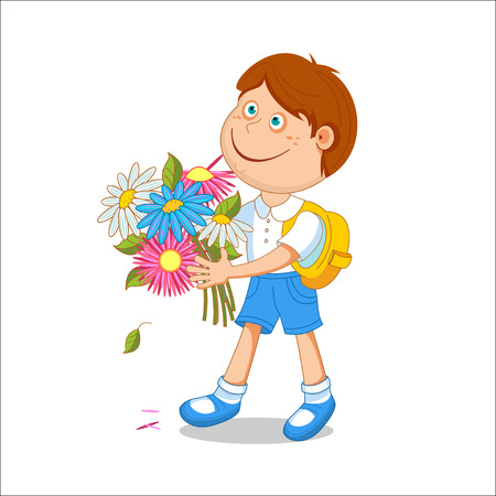 first grade: Boy schoolboy with a bouquet in hand. Isolated on white background, illustration.