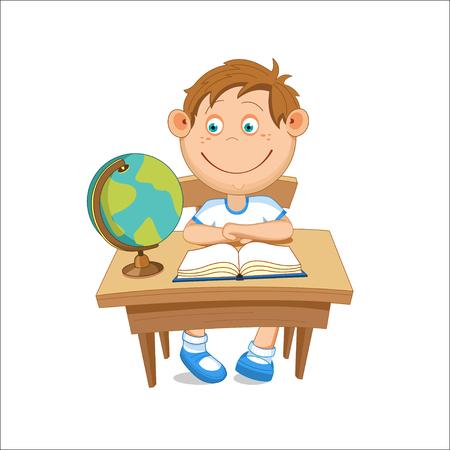 Boy sitting at table looking at a globe, illustration. Ilustração