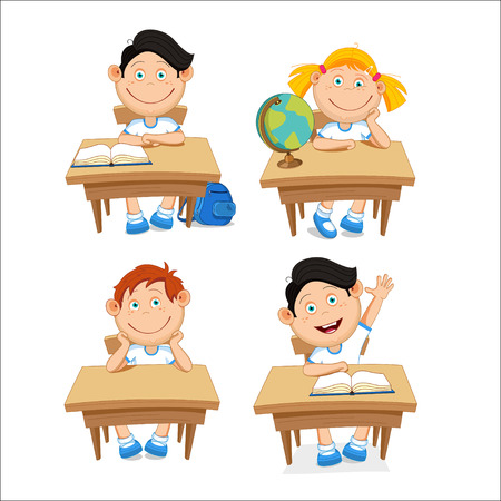 first grade: Boys and girls, schoolchildren, sitting at the table. illustration on a white background. Illustration