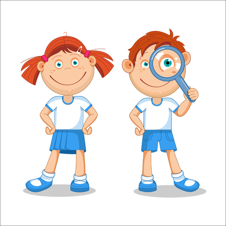 first grade: Girl and a boy. Boy looking through a magnifying glass. illustration, isolated on white background.