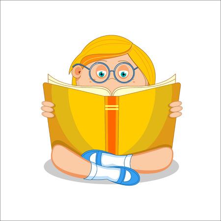 first grade: Girl reading open book sitting on floor, illustration.