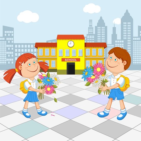 first grade: Girl schoolgirl and boy student with a bouquet in hand, go to school, illustration.