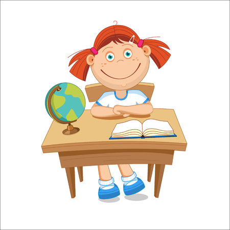 first grade: Girl schoolgirl sitting at the table. On the table book globe. illustration. Illustration