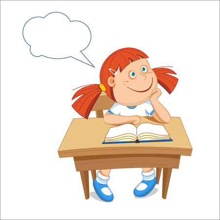 primer: Girl schoolgirl sitting at the table. On the table book. illustration.