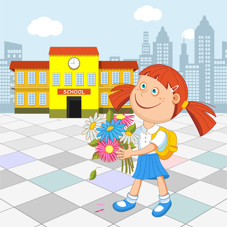 Girl schoolgirl with a bouquet in hand walking to school. illustration.