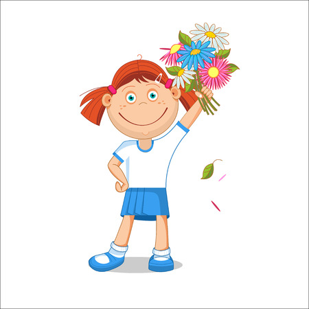 first grade: Girl schoolgirl with a bouquet in hand. illustration isolated on white background. Illustration