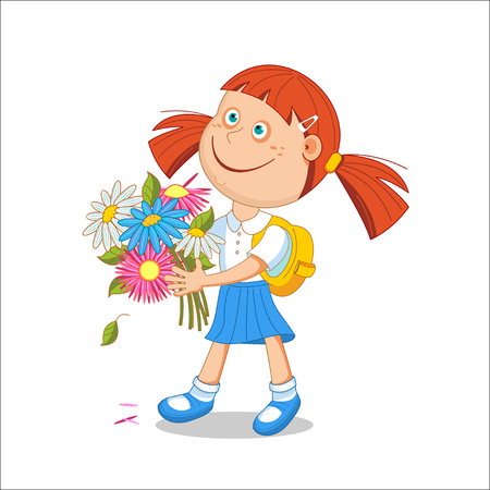 Girl schoolgirl with a bouquet in hand. illustration. Isolated on a white background.