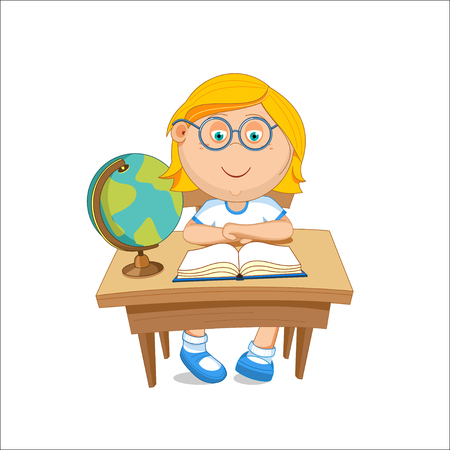 first grade: Girl schoolgirl with glasses sitting at the table. illustration.