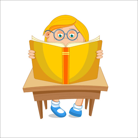first grade: Girl with glasses, reading open book, sitting at the table, illustration