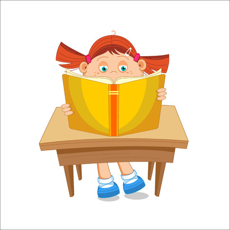 Girl, reading open book, sitting at the table, illustration Illustration
