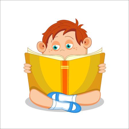 first grade: Kid, boy, reading open book, illustration Illustration