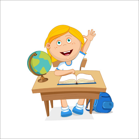 first grade: School girl sitting on table, hand picked, illustration