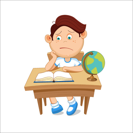 Schoolboy sits at a table, reading a book, illustration.