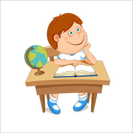 Boy sits at the table, on the table a book and globe, illustration.