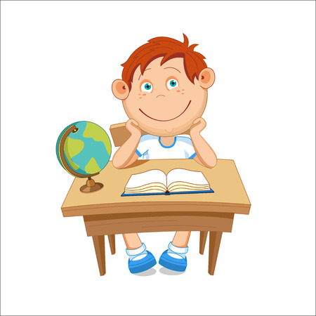 Boy sitting at the table, on the table is a globe, illustration.