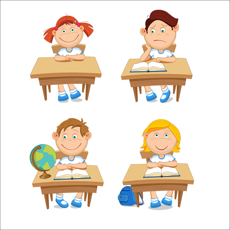 first grade: Boys and girls, schoolchildren, sitting at the table. illustration isolated on white background.