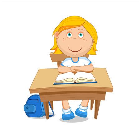 first grade: Girl schoolgirl sitting at the table. illustration. Illustration