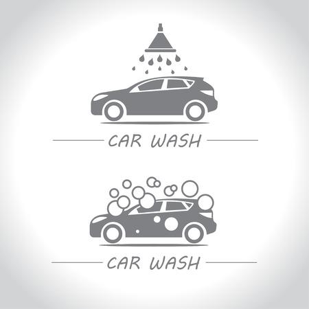 Car wash. Service maintenance and car washing. Car and shower bubbles. Illustration