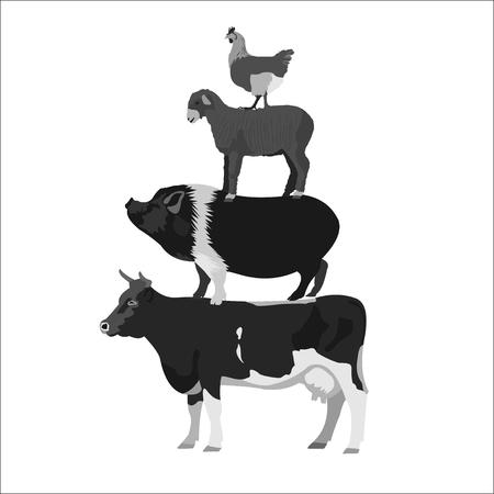 Animals farm. Cow, horse, lamb, chicken. Monochrome vector illustration.