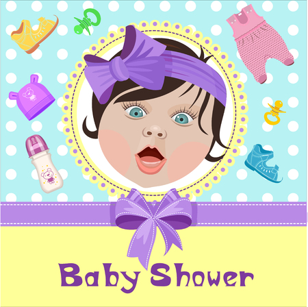 Greeting card, invitation with a picture of the baby. Baby shower.