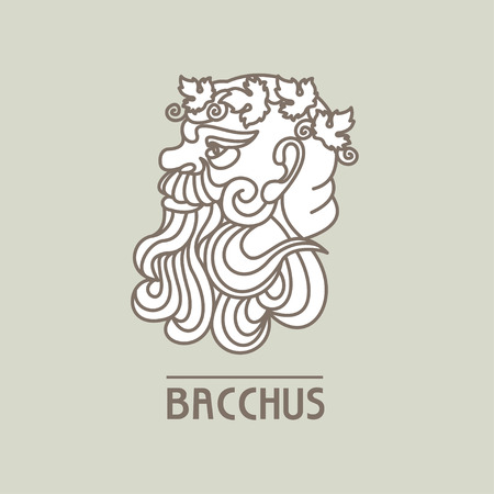 Bacchus. The God of wine. Vector logo. Çizim