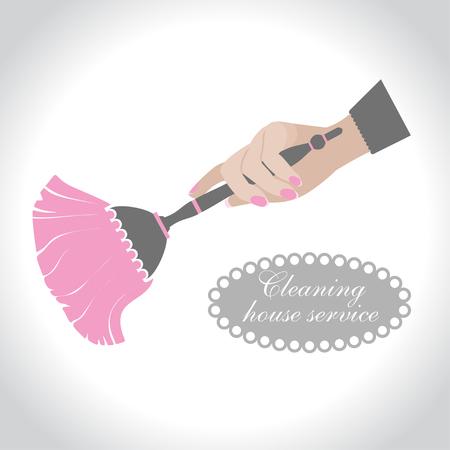 limpieza de la casa, logotipo de la vendimia. Mano femenina que sostiene una escoba para limpiar el polvo