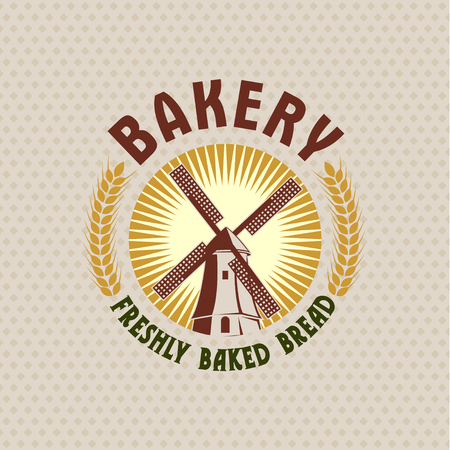 Bakery, retro vector logo of a mill.