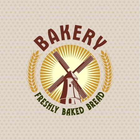 Bakery, retro vector logo of a mill.