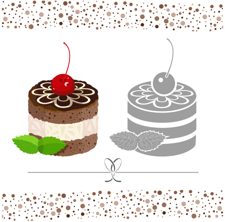 decorated cake: Cake decorated with icing. Vector color and black & white image.