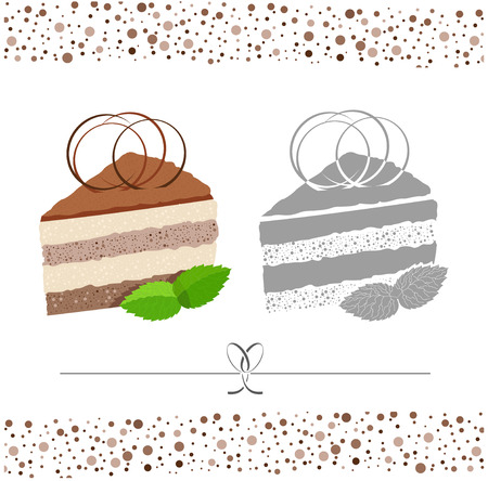black and white image: Cake. A piece of cake. Vector color and black & white image.
