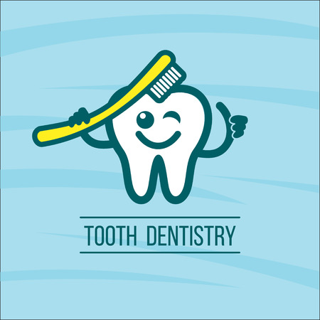 Dentist tooth and toothbrush. Vector logo of the dental clinic. The oral hygiene.