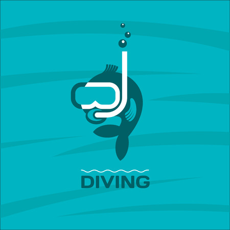 man underwater: Diving. Fish diver mask with snorkel. Vector logo. Illustration