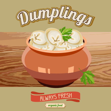 Dumplings in the pot . Ravioli. Vector illustration for restaurants and cafes. Stock Vector - 60505055