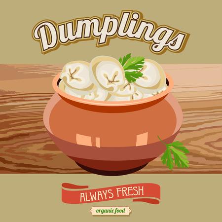 Dumplings in the pot . Ravioli. Vector illustration for restaurants and cafes. Illustration